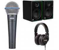 Shure + Mackie Bundle - SRH440 Professional Studio Headphones + Mackie CR Series Studio Monitor (CR5-X) + BETA 58A Dynamic Vocal Microphone