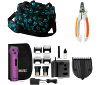 Wahl Professional Animal Clipper Travel Bundle - Wahl Professional Animal Arco Pet, Dog, Cat, and Horse Cordless Clipper Kit - Purple + Wahl Professional Animal 5-in-1 Diamond Blade + Wahl Pet Nail Clipper + Wahl Professional Animal Travel and Tote Bag