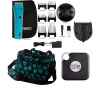 Wahl +Tile Travel Bundle - Wahl Professional Animal Bravura Corded / Cordless Clipper Kit, Turquoise +  5-in-1 Diamond Blade + Tile Pro 1 Pack + Wahl Professional Animal Travel and Tote Bag