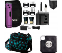 Wahl +Tile Travel Bundle - Wahl Professional Animal Arco Cordless Clipper Kit - Purple + 5-in-1 Diamond Blade + Tile Pro 1 Pack + Wahl Professional Animal Travel and Tote Bag