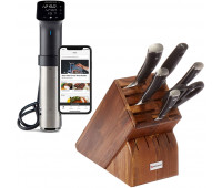 Anova Culinary Sous Vide Precision Cooker Pro (WiFi)  + WÜSTHOF CLASSIC IKON Seven Acacia Block 7-Piece German Set | Precision Forged High Carbon Stainless Steel Kitchen Knife, 15 Slot Wood, Model 8347-6