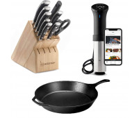 Anova Wifi with Wusthof Gourmet & Lodge Classic 15-Inch Cast Iron Skillet